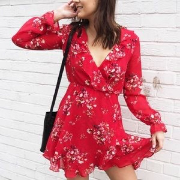 9691949f77ff6 H&M Dresses | Hm Divided Red Floral Wrap Dress | Poshmark